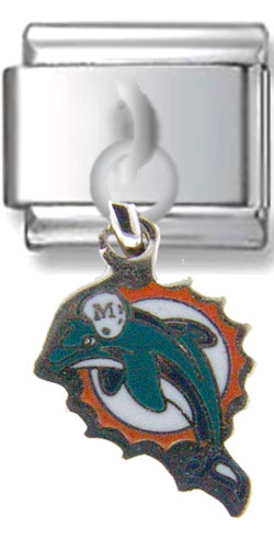 Miami Dolphins Dangle Silver Charm