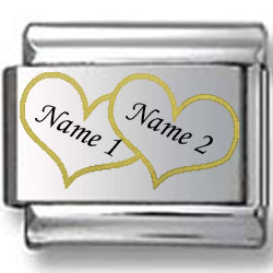 Custom Names in Gold Hearts Laser Charm