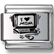 I Love Mom Computer Laser Charm