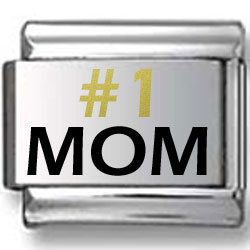 #1 MOM Gold and Black Laser Charm V.1