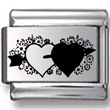 Black & White Hearts Laser Charm