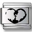Silhouette of Couple Kissing Laser Charm