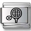 Tennis Ball and Racquet Black Laser Charm