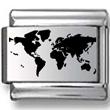 Map of World Black Laser Charm