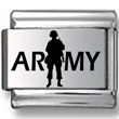 Soldier Silhouette ARMY Laser Charm