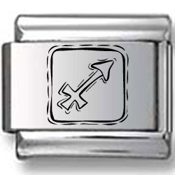 Symbolic Sagittarius Icon in Box Black Laser Charm
