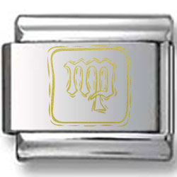 Symbolic Virgo Icon in Box Gold Laser Charm