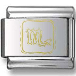 Symbolic Scorpio Icon in Gold Black Laser Charm