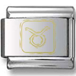 Symbolic Taurus Icon in Box Gold Laser Charm