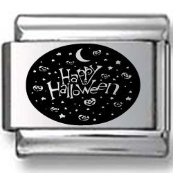 Happy Halloween Collage Black Laser Charm