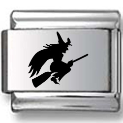 Wicked Witch riding Broom Black Laser Charm