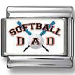 Softball Dad Photo Italian Charm