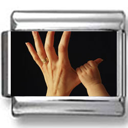 Baby's Hand on Mommy's Finger Photo Charm