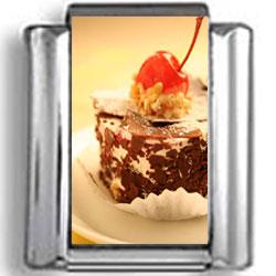 Chocolate and Cherry Dessert Photo Charm