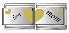 Best Mom Double Link Gold and Black Laser Charm
