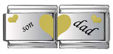 Son and Dad Double Link Gold and Black Laser Charm