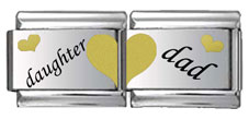 Daughter and Dad Double Link Black and Gold Laser Charm