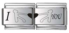 Love Tug-of-War Double Link Laser Charm