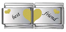 Best Friends Double Link Gold and Black Laser Charm