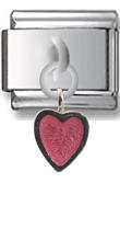 Pink Heart Sterling Silver Italian Charm