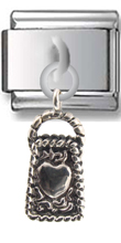 Handbag Heart Sterling Silver Italian Charm