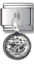 Anchor in Circle Sterling Silver Italian Charm