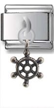 Ship Wheel Sterling Silver Italian Charm
