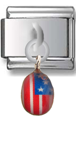 American Flag Sterling Silver Italian Charm