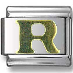 Gold Puffy R Letter