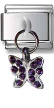 Butterfly Zirconia Italian Charm