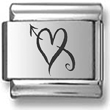 Swirly Heart and Arrow Charm