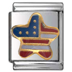 American Flag Star Italian Charm 13mm