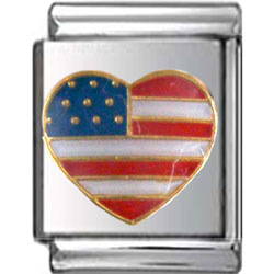 American Flag Heart Italian Charm 13mm