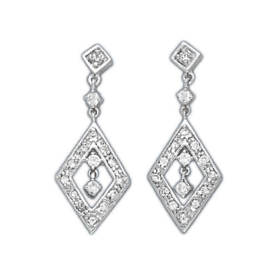 Sterling Silver CZ Diamond Cut Drop Earrings. Price: $55.59