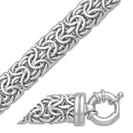 14K White Gold 9.1mm Bizantine Bracelet