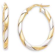 14K Medium Oval Flat Braided Two-Tone Hoops