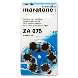 Pkg/4 Type 675 Renata Maratone Hearing Aid Batteries