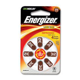 One pk of 8 cells Type 312 Energizer Hearing Aid Batteries
