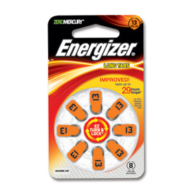One pk of 8 cells Type 10 Energizer Hearing Aid Batteries