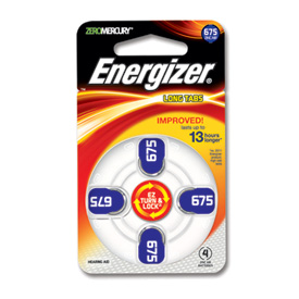 One pk of 4 cells Type 675 Energizer Hearing Aid Batteries