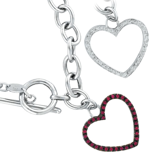 14K White Gold Pink Sapphire & Diamond Heart Toggle Bracelet. Price: $1036.80