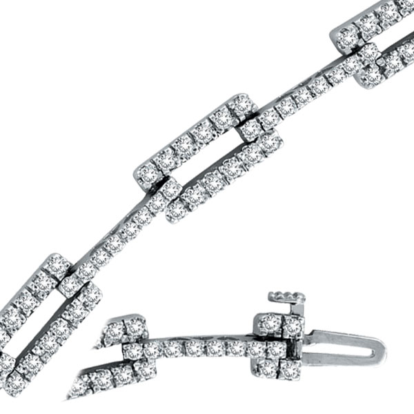 14K White Gold 2.54ct Diamond Long Link Bracelet. Price: $3168.00