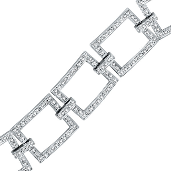 14K White Gold 5.02ct Diamond Open Square Link Bracelet. Price: $7481.28