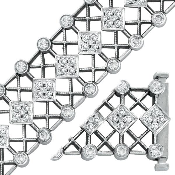 14K White Gold 3.3ct Diamond Wide Filigree Bracelet. Price: $6309.12
