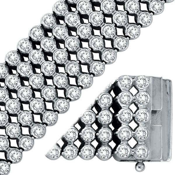 14K White Gold Five Row Diamond Bezel Set Wide Bracelet. Price: $14928.00