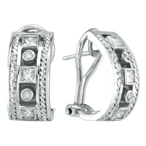 14K White Gold Antique Style .40ct Diamond Bezel French Hoop Earrings. Price: $1641.60