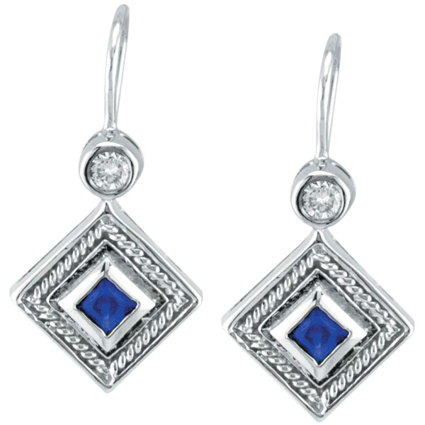 14K White Gold Genuine Precious Sapphire & .14ct Diamond Antique Style Earrings. Price: $727.68