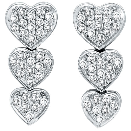 14K White Gold 1.27ct Diamond Triple Graduated Heart Earrings. Price: $1485.12