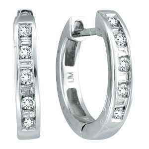 14K White Gold .25ct Diamond Channel Set Hoop Earrings. Price: $546.24