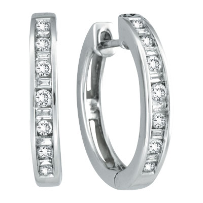 14K White Gold .50ct Diamond Channel Set Hoop Earrings. Price: $958.08